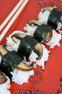Tyler Florence broiled portobello mushroom sushi with soy glaze
