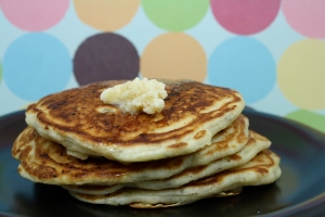 Tyler Florence's Banana and Pecan pancakes with maple butter